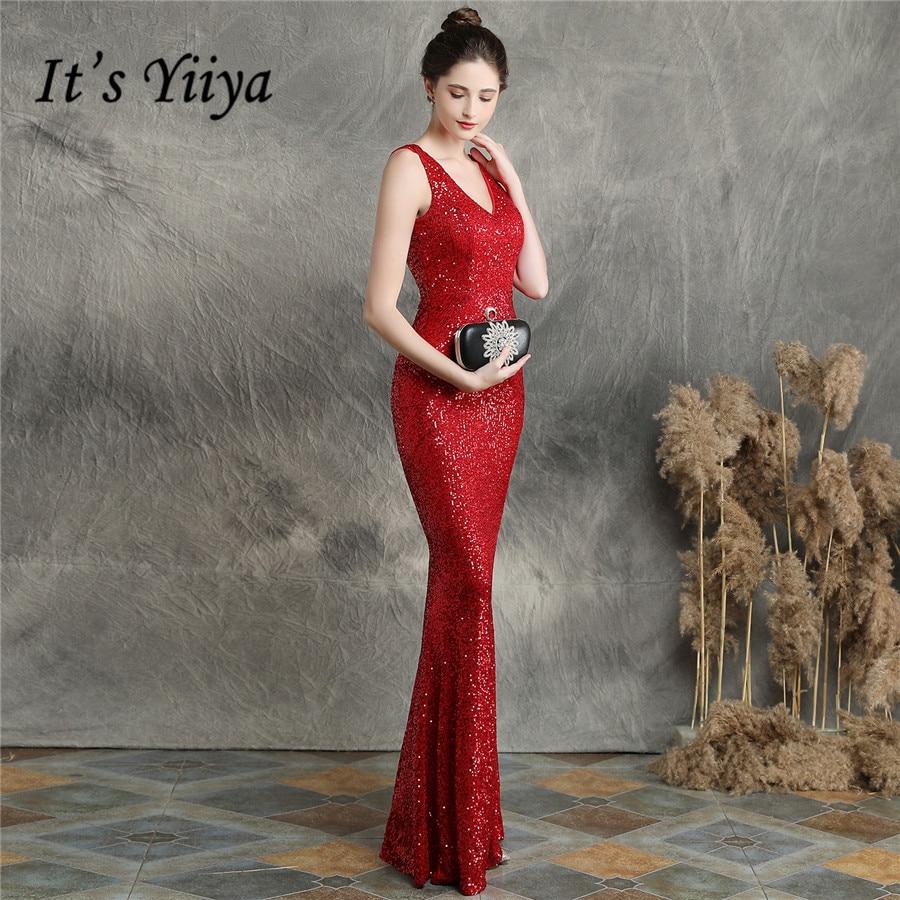 It's Yiiya V-Neck Formal Dress Mermaid Sleeveless Sequined Robe De Soiree Backless Floor-Length Robe De Soiree DX256
