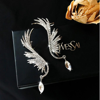 2020 New Angel wings Rhinestone Hanging Dangle exquisite Exaggerated Fashion Stud Earrings elegant Prevent Allergy Earrings exquisite elegant style rhinestone embellished square shape women s stud earrings