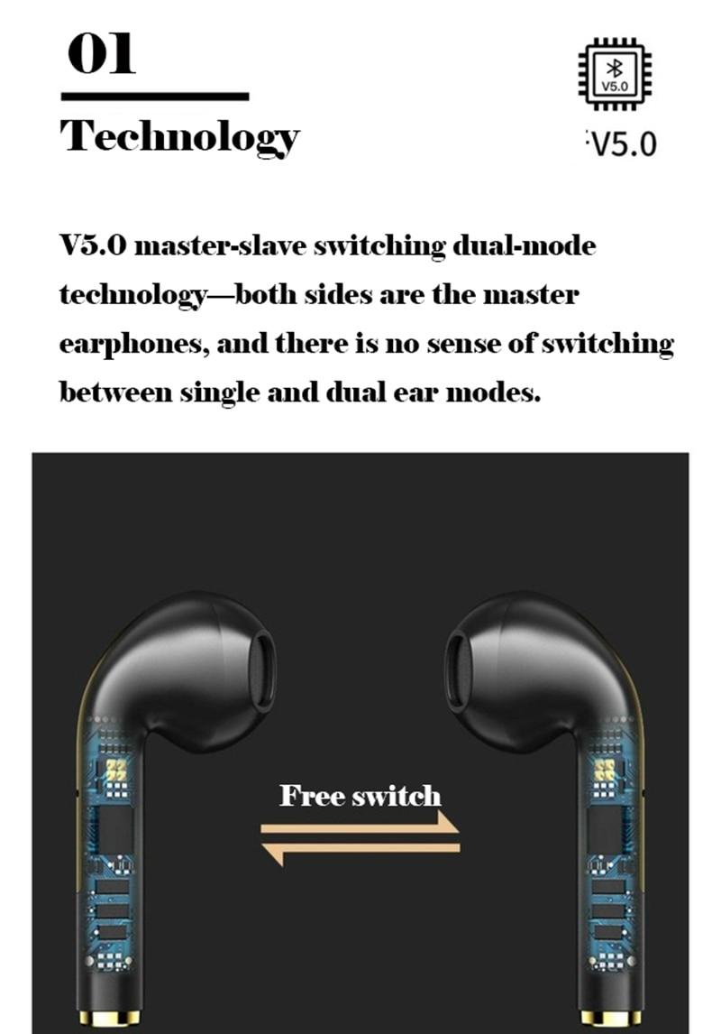 H7ebe4f6cdc9d451594863d24beb7c070F New TWS Bluetooth Headphones Stereo True Wireless Headphone Earbuds