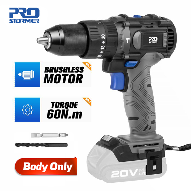 Brushless Hammer Drill 60NM Impact Electric Screwdriver 3 Function 20V Steel / Wood / Masonry Tool Bare Tool By PROSTORMER 1