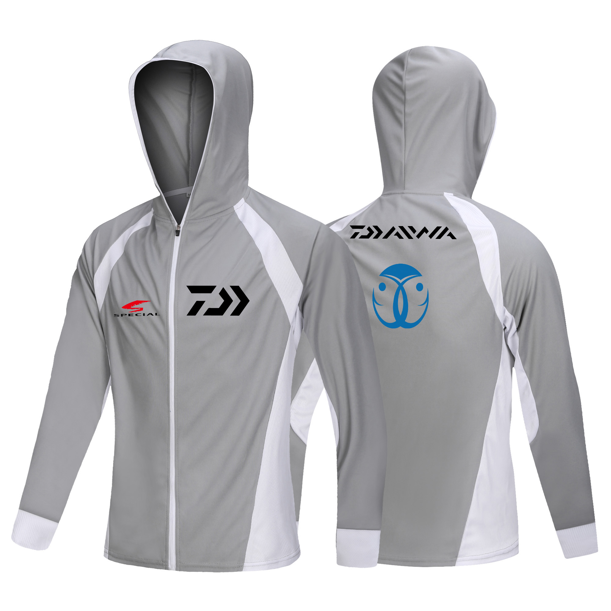 Daiwa Fishing Hoodie Anti-UV Sunscreen Sun Protection Face Neck Breathable Fishing Shirt Long Sleeve Quick Dry Fishing Clothing