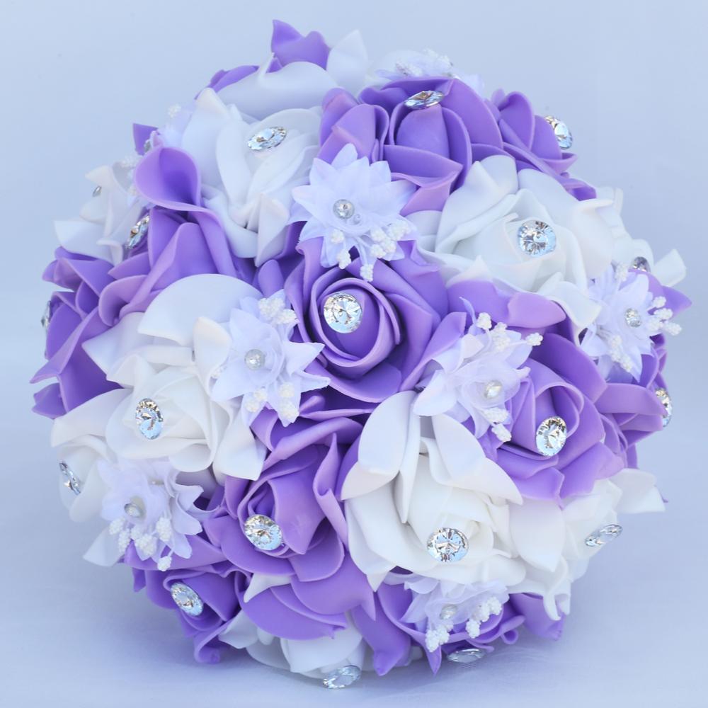Simple Bridesmaid Foam Bouquet Wedding Bouquets Diamond Ribbon PE Bouquet Bridal Holding Artificial Flowers Mariage FW008