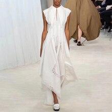 Women Summer Dress Maxi Hollow Out High Waist Asymmetric Sleeveless Long Dress