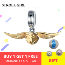 StrollGirl Hot classic golden Snitch charms 925 sterling silver bead fit pandora bracelets diy jewelry making for Christmas gift