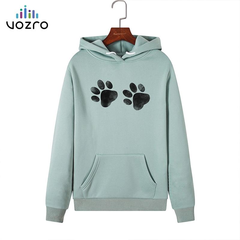 VOZRO Suit-dress Paw Cat Foot Loose Catch Down Even Midnight Woman Sweatshirt Hoodies Hoodie Moletom Blackpink Streetwear Coat