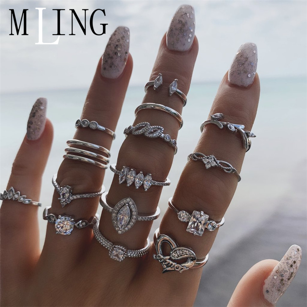 MLING 15Pcs/Set Newest Silver Crystal Ring Vintage Leaves Water Drop Heart Geometric Rings Set For Women