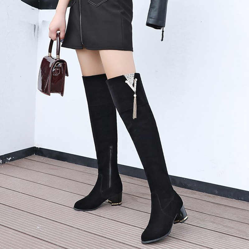 Winter Women Over The Knee Boots Suede Thigh High Boots Zipper Female Square Heels Lace Up Fashion Ladies Shoes Plus Size Aliexpress