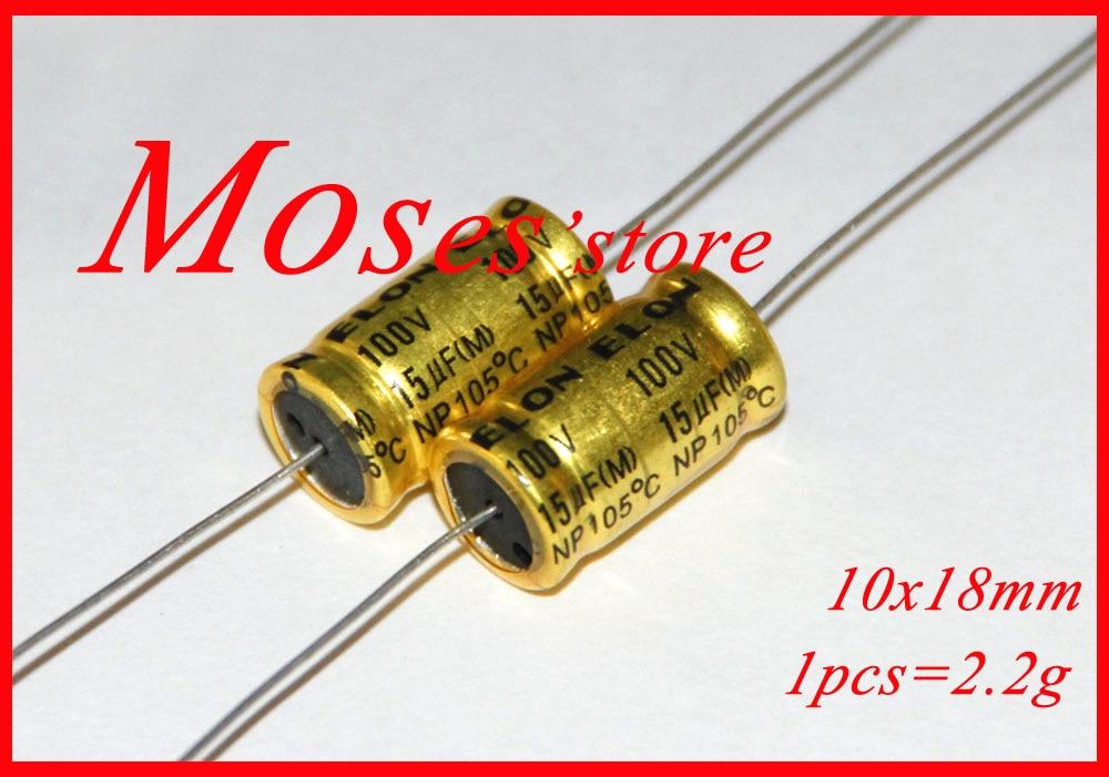 50pcs 10uF 100V ELUM NP 10x20mm 100V10uF Bipolar Axial Electrolytic Capacitor