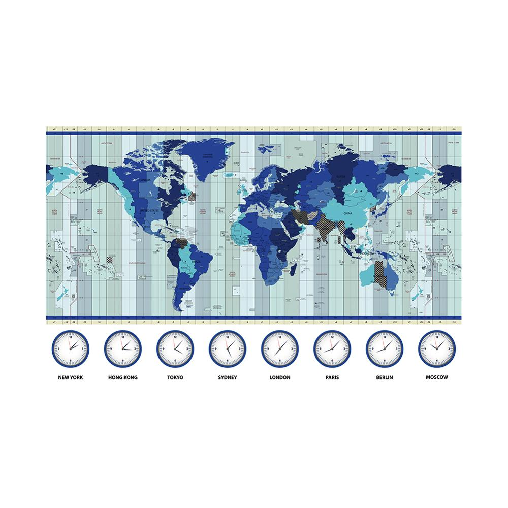 The World Map Time Zone Map 150x100cm Non-woven Waterproof Map For Education And Research
