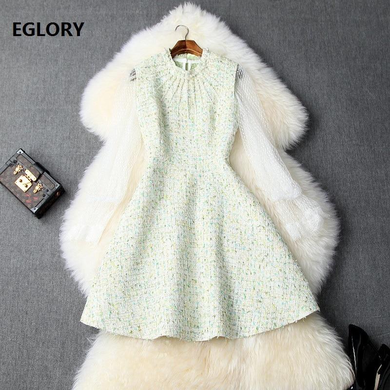 Conjunto de vestido de moda de otoño 2019 para mujer, camisa de encaje transparente Sexy para mujer + vestido de lana sin mangas con revestimiento de perlas para niñas