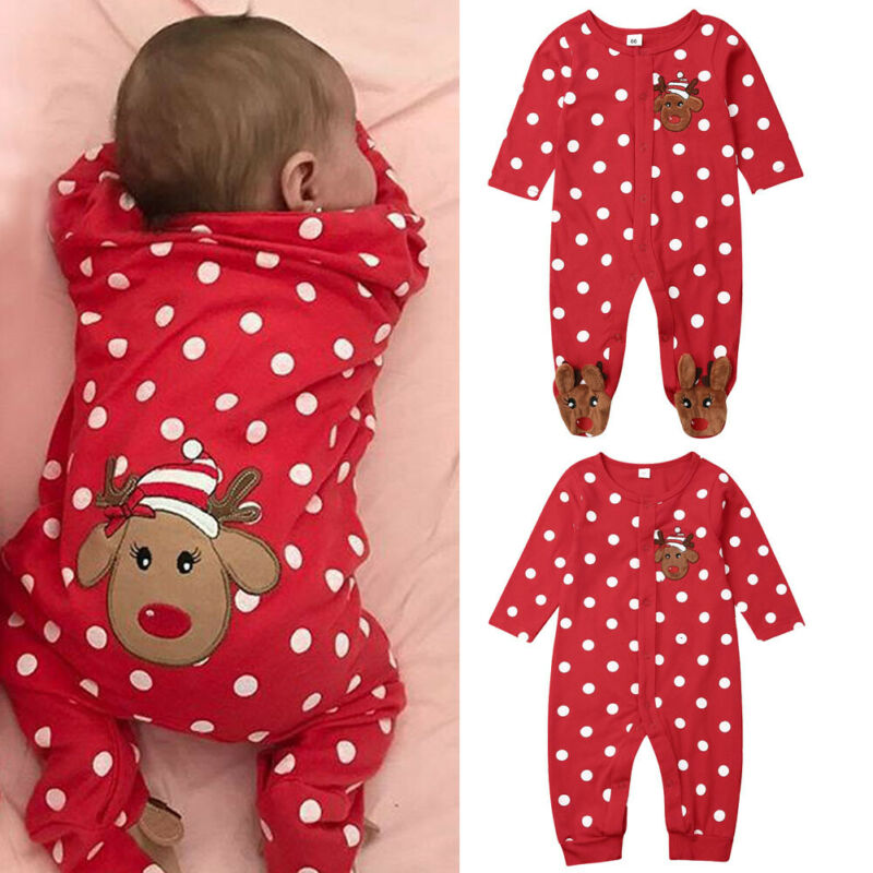0-18M Infant Baby Xmas Wrapped Foot Jumpsuit Cotton Comfortable Long Sleeve Cartoon Christmas Elk Print Playsuit Newborn Clothes