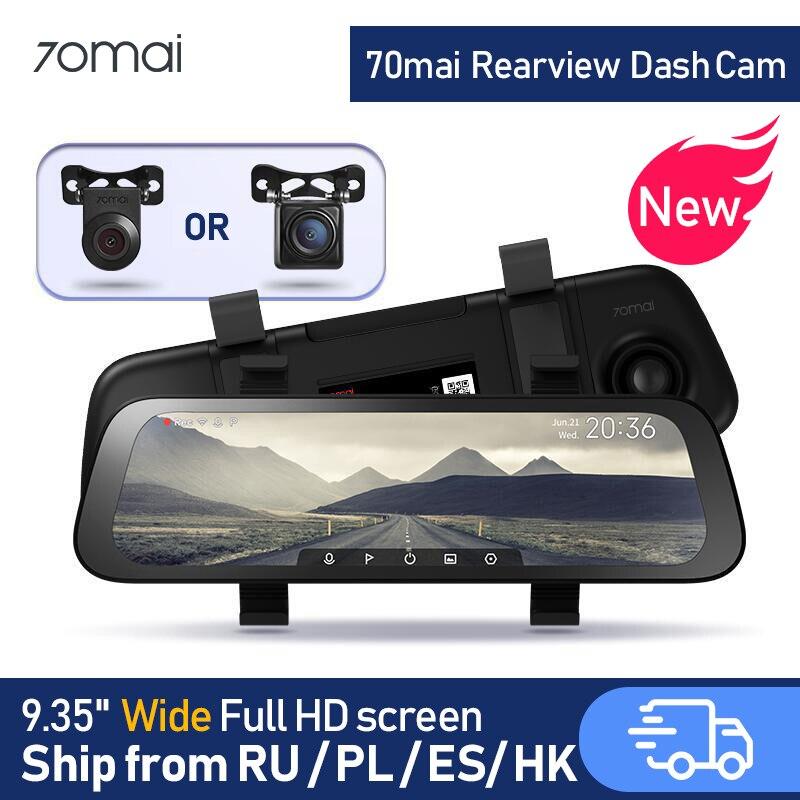 Novo 9.35 Polegada tela cheia 70mai rearview traço cam wide 1080p câmera automática 130fov 70mai espelho gravador de carro transmissão mídia carro dvr
