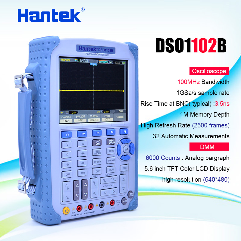 <font><b>Hantek</b></font> <font><b>DSO1102B</b></font> Portable Handheld strong Digital Oscilloscope /Multimeter 100MHz Bandwidth 2 Channel Factory direct sales image