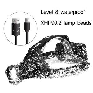Image 2 - أقوى XHP90.2 Led كشافات 8000LM رئيس مصباح USB قابلة للشحن المصباح مقاوم للماء Zooma مصباح الصيد استخدام 18650 بطارية