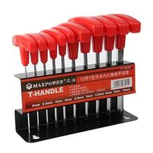 10Pcs T-Handle Screws Hardware Allen Hex Key Wrench Spanner Repair Screwdriver Flat Hand Tool For Auto Bike Motorycle Reapair