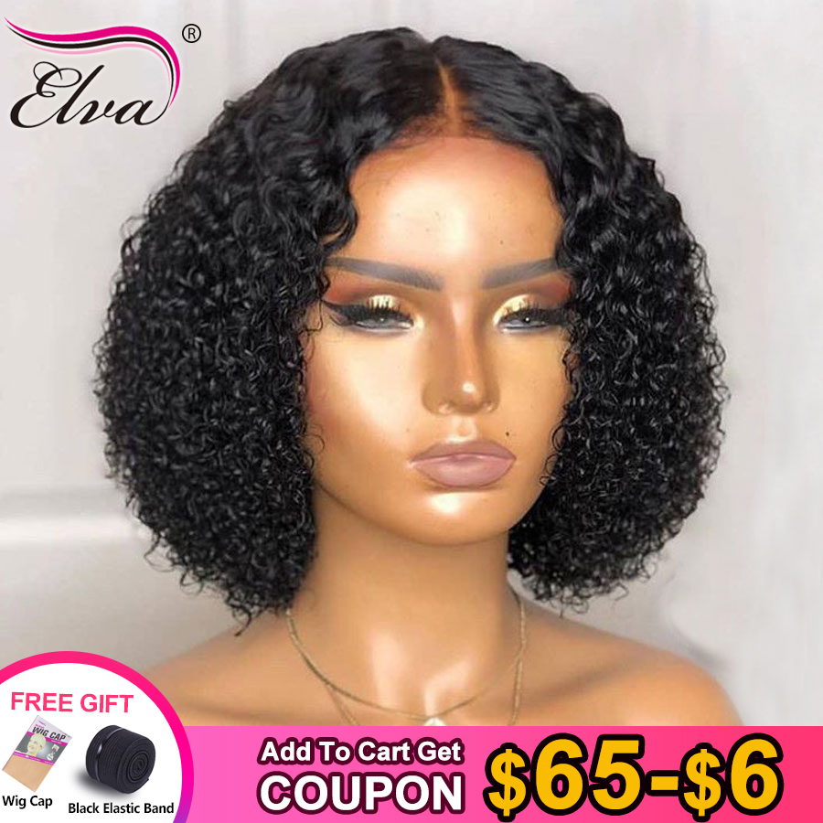 Elva 13x6 Lace Front Human Hair Bob Wigs For Black Women Pre Plucked With Baby Hair Curly Short Lace Front Wigs Remy Hair Wigs