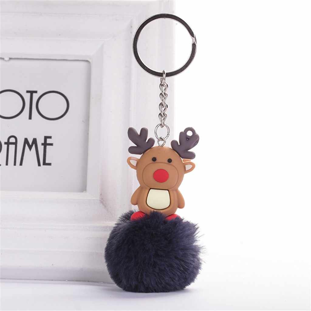 Cute Keychain Pendant Women Claus Elk Christma Ring Holder Pompoms Key Chains Women Bag simple key chain Fur ball  For Woman