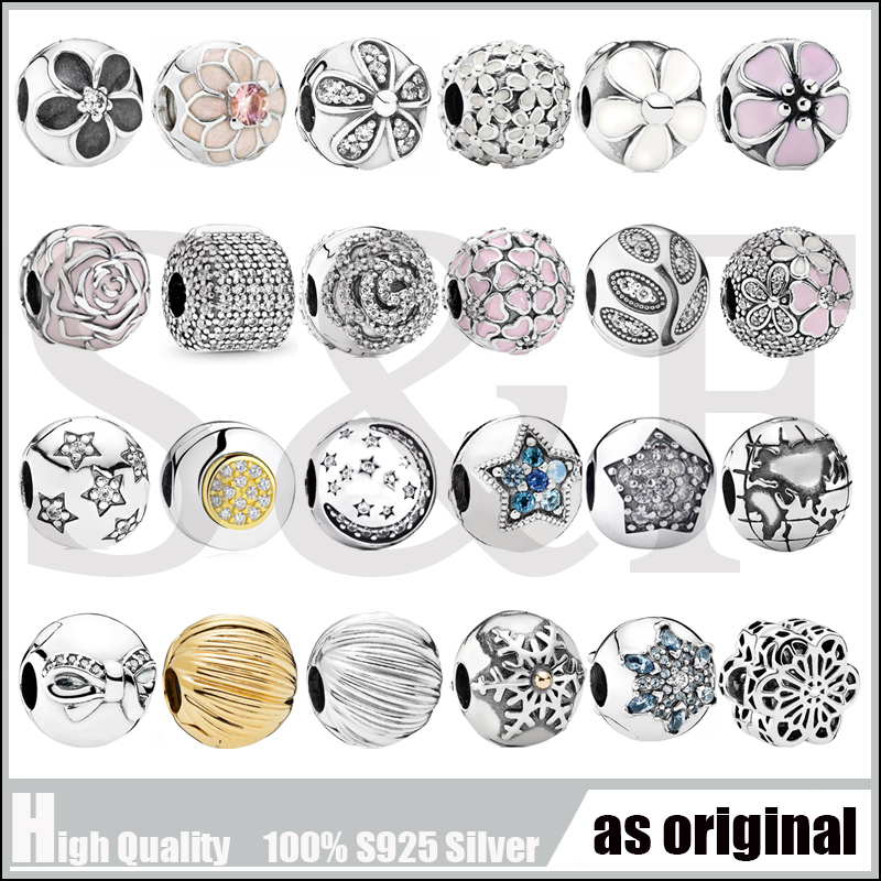Stoppers Collection 100% 925 Sterling Silver Beads DIY Jewelry Twinkling Night Clips <font><b>Charm</b></font> Fit Original <font><b>Pan</b></font> <font><b>Bracelet</b></font> Bangle image