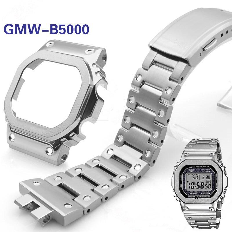 Bracelet de montre et lunette pour GMW-B5000 Bracelet de montre en acier inoxydable 316L de haute qualité et couvercle de boîtier