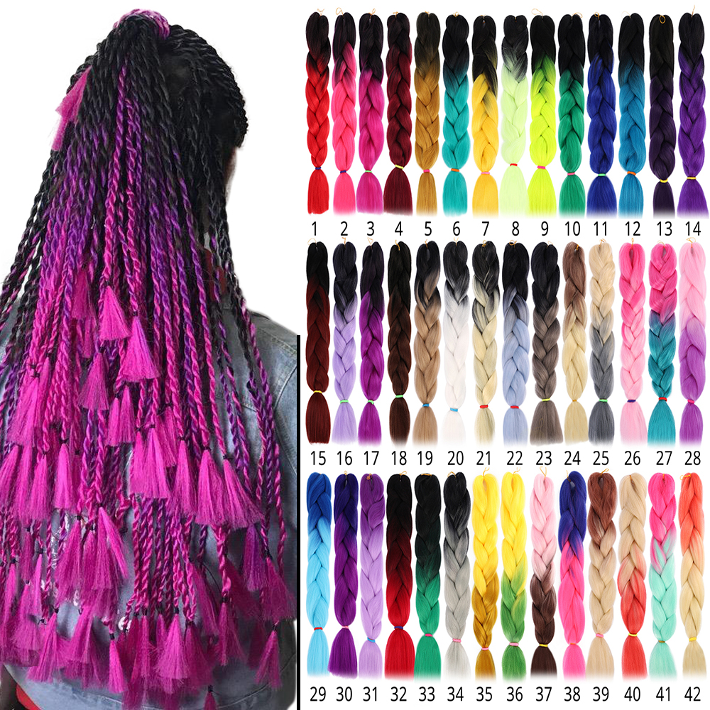 24'' Synthetic Colored Crochet Jumbo Braids Ombre Two Tone Soft Dark Roots African Afro Twist Braiding Hair Extensions Bulk