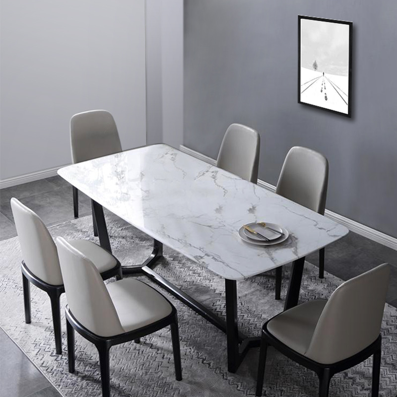 Luxury Modern 1 4 Meter White Marble Stone Home Rectangle Dining Kitchen Room Dining Table Set Dining Tables Aliexpress