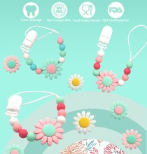 sunflower silicone beads pacifier gum anti dropping chain environmental protection baby pacifier anti dropping clip PN021 foreign trade hot silicone tooth gum baby nipple chain nipple clip pacifier accessories