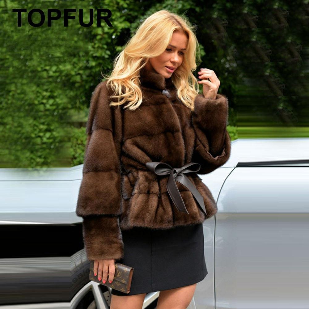 TOPFUR 2019 Winter Customized Real Fur Coat Women Natural Mink Fur Coat With Belt Full Sleeves Standard Regular Coat Women Short