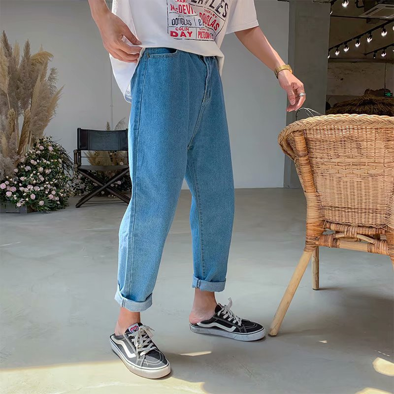 Wholesale 2020 Summer Hong Kong Style Jeans Men's Korean Loose Straight Denim Pants Men's Retro Wide Leg Ankle Length Jeans Men