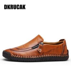 Image 5 - Nowe ręcznie robione męskie skórzane buty oddychające buty na co dzień mężczyźni antypoślizgowe mokasyny jazdy obuwie Chaussure Homme Cuir Plus Size38 48