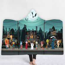 Halloween Hooded Blanket For Home Travel Picnic 3D Printed Wearable Soft Bed Portable Warm Throw Adults
