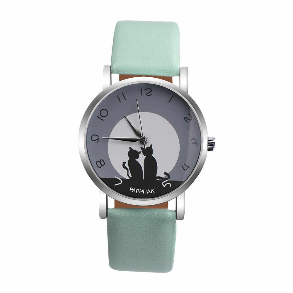 Mulheres bonito gato falso couro analógico relógio de quartzo moda esportes marca relógios de pulso relógio de quartzo casual silicone feminino relógios quentes