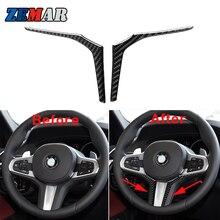 1set Carbon Fiber Car steering wheel Sticker Trim For New 5 series BMW G30 X3 G01 X4 G02 2019 2020 2021 Interior Accessories