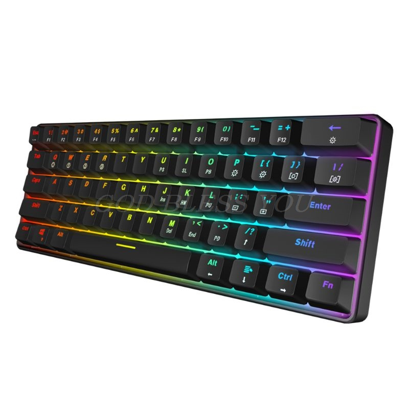 Image 2 - GK61 61 Key Mechanical Keyboard USB Wired LED Backlit Axis Gaming Mechanical Keyboard For Desktop Drop ShippingKeyboards   - AliExpress