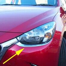 Chrome Scheinwerfer Trimmt Für Mazda 2 Demio 2015 2016 2017 2018 2019 Kopf Licht Streifen Zubehör