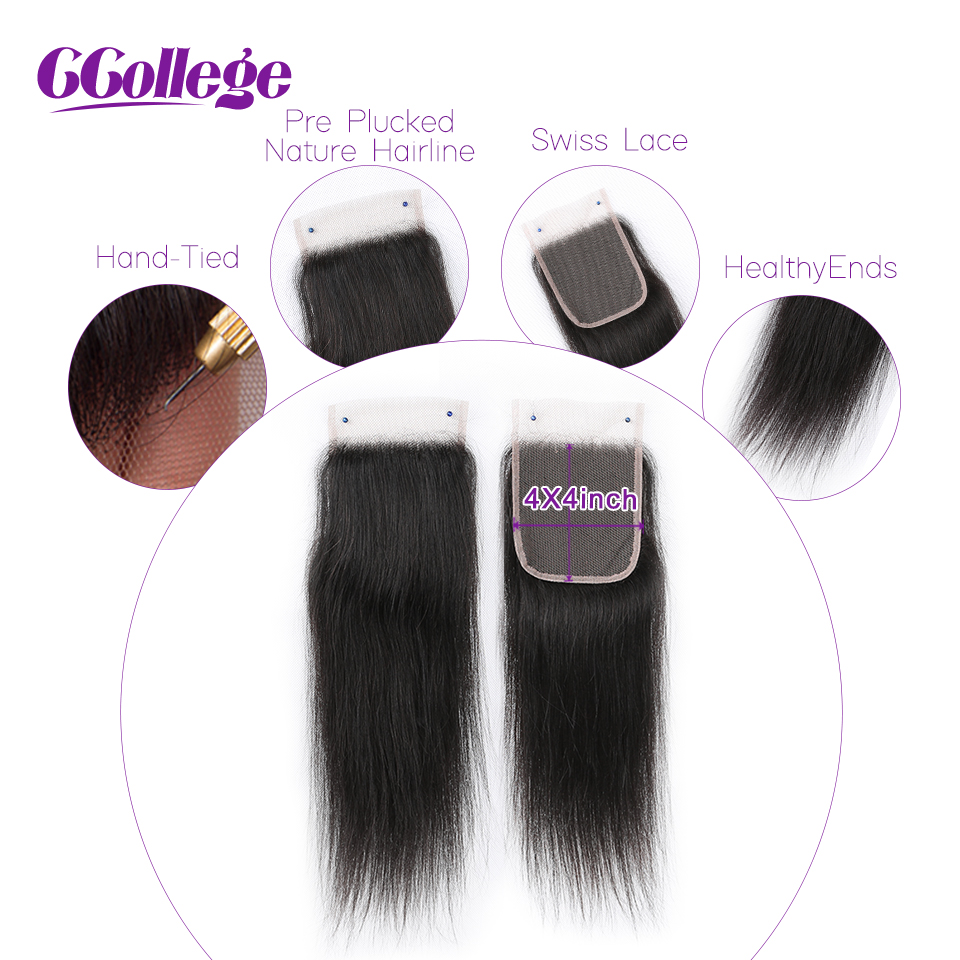 Peruvian Straight 3 Bundles With Closure 4 Pieces/Lot 8-26 inch Human Hair With Lace Closure 4