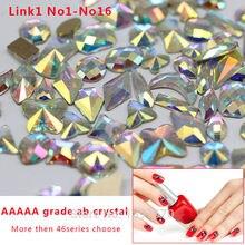 20PC Top  quality AAAAA grade clear ab crystal  diy Nail Art Decorations flatback Rhinestones Strass Stones series shape choose