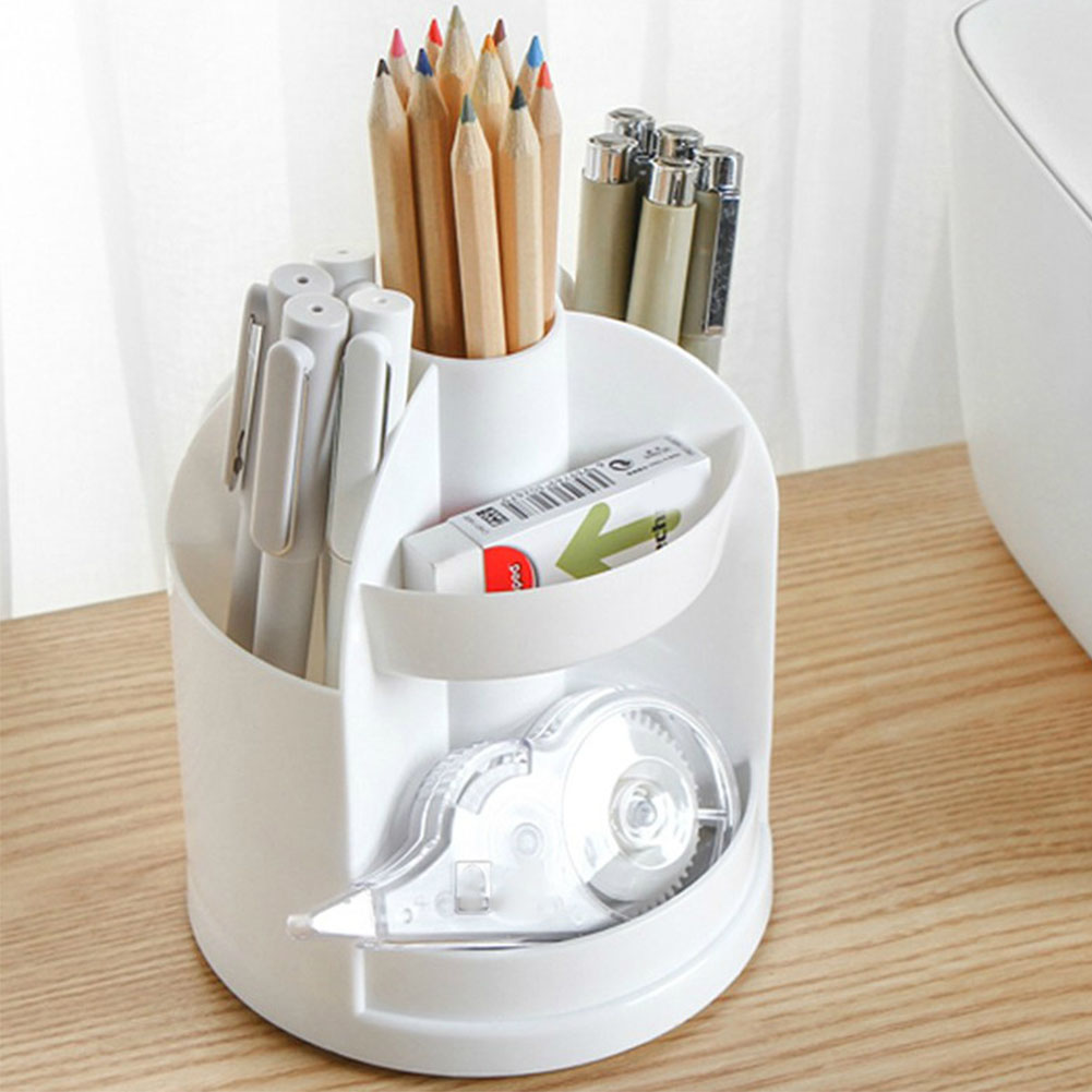 360 Degree Rotated Office Pencil Multi Grid Cylinder Shape Home Portable Storage Divided School Desk Pen Holder Multifunction