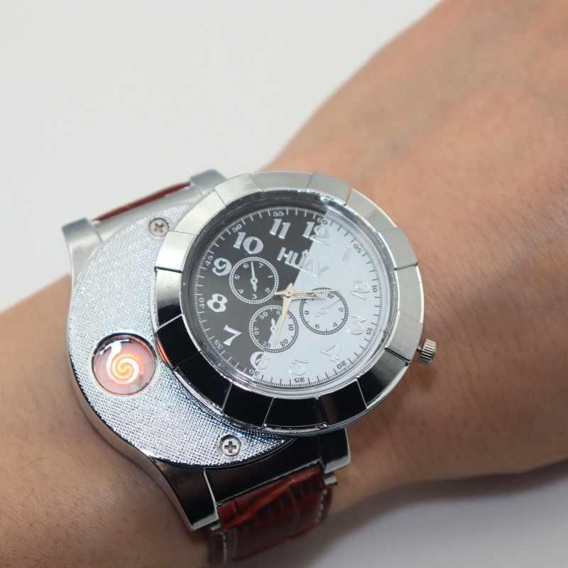 שעון גברים מצית USB נטענת שעונים מקרית זכר מתנת קוורץ שעוני יד עור Flameless מצית שעון F667