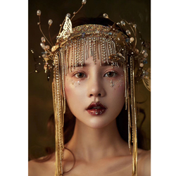 Fashion Golden Head Band Fairy Butterfly Headdress Pearl Bead Chain Tassels Model Show Studio Photo Shoot Decoration Accessories