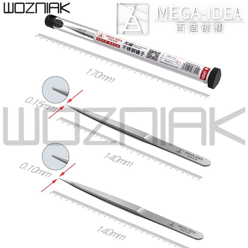 MEGA-IDEA Non-Magnetic Tweezer Stainless Steel Anti-Rust Wear-resistance Precision Tweezer  0.1mm 0.15mm For Mobile Phone Repair