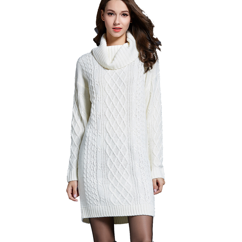 Wool Dress Winter Women's Wool Dress Warm Knitted Dresses Thickening Knit Dress Casual Knitted Sweater Dresses Vestidos E82304