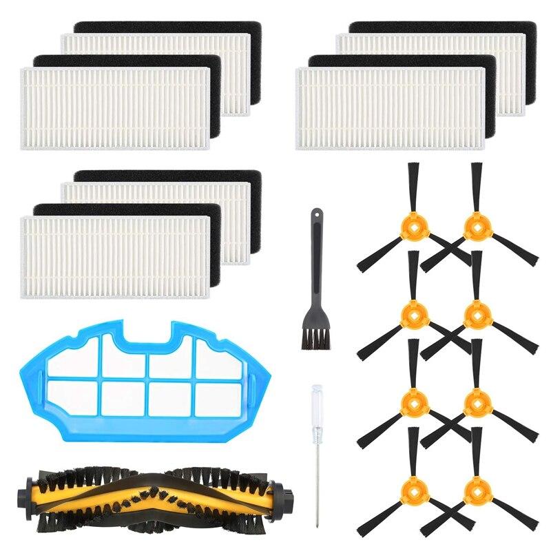 Kit accessoires de rechange Compatible Ecovacs Deebot N79S Deebot N79 aspirateur robot, 1 brosse principale + 6 filtres + 8 brosses latérales + 1 Pri