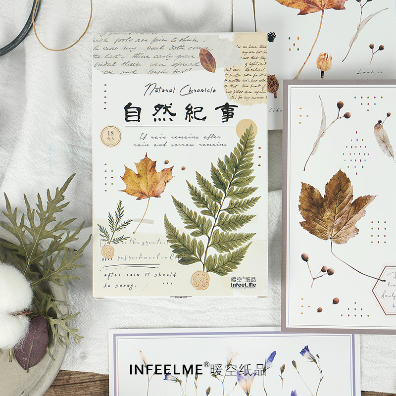 18 Pcs/lot Natural Plant Leaves Greeting Card Postcard Birthday Letter Envelope Gift Card Set Message Card