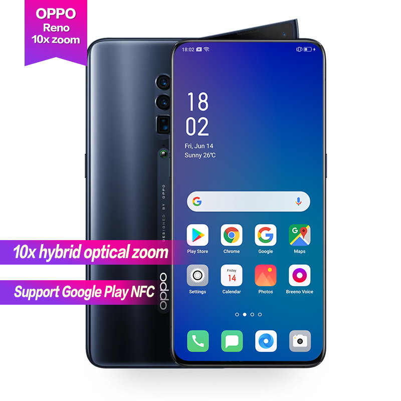"""oppo reno 10X Optical Zoom Support NFC Google Global ROM 48MP 16MP 8MP Camera Octa Core 6.6""""Full Screen VOOC Fast Charging"""