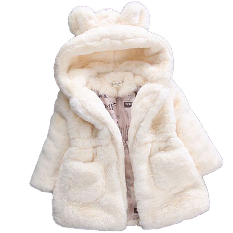 Winter Girls Faux Fur Coat 2019 New Fleece Warm Pageant Party Warm Jacket Snowsuit 2-7Yrs Baby Hooded Outerwear Kids Clothes