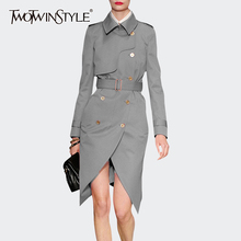 Sashes Windbreaker TWOTWINSTYLE Irregular-Trench Women Long-Sleeve Khaki Casual for Lapel