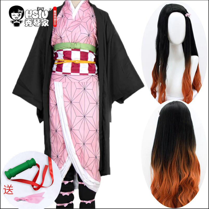 HSIU Kamado Nezuko Anime Cosplay Costume Wig Demon Slayer Kimetsu no Yaiba Kimono Uniform Cloak Full Set Halloween Gradient hair