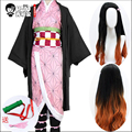 HSIU Kamado Nezuko Anime Cosplay Kostüm Perücke Dämon Slayer Kimetsu keine Yaiba Kimono Uniform Umhang Volles Set Halloween Gradienten haar-in Mädchen-Kostüme aus Neuheiten und Spezialanwendung bei