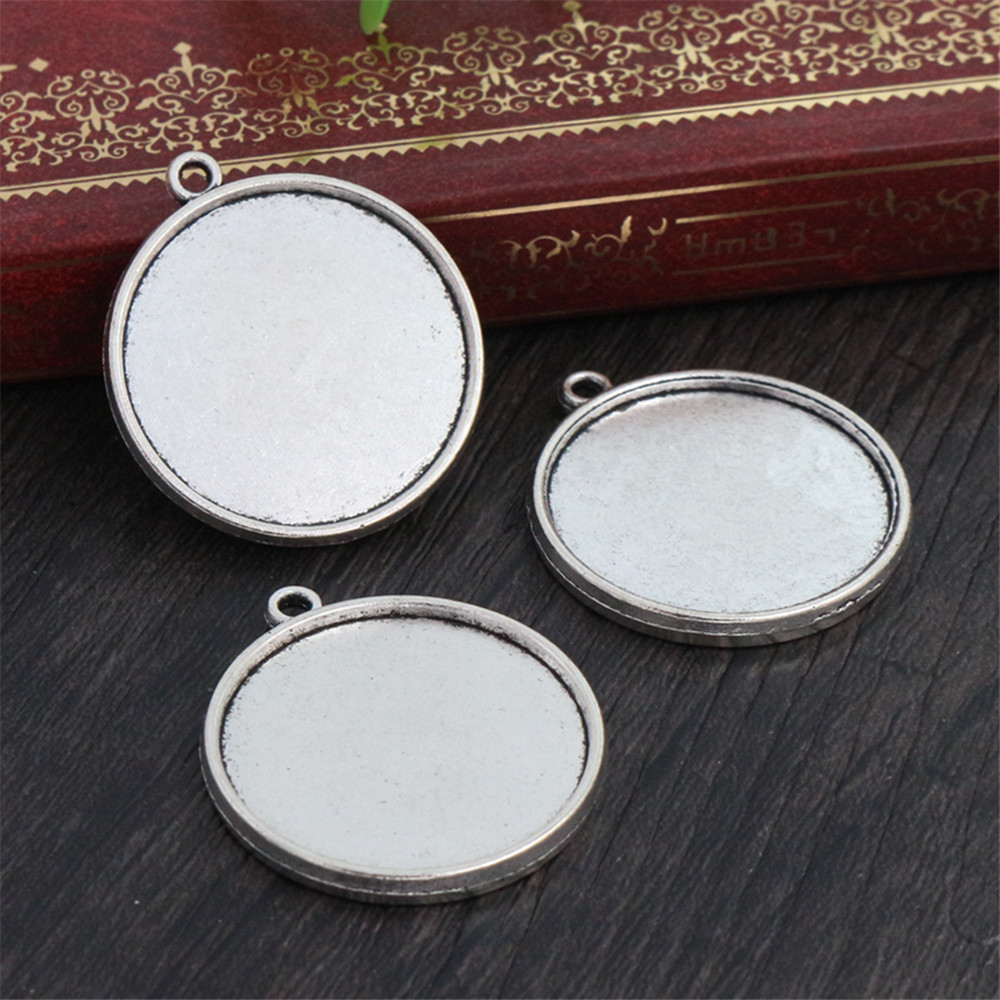 10pcs 25mm Inner Size Antique Silver Plated Double Side Cabochon Base Setting Charms Pendant (A6-17)