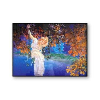 Chica en un columpio sueños antiguo cuadro sobre lienzo para pared mujer Vintage impresión cartel naturaleza otoño imagen del lago casa Decoración